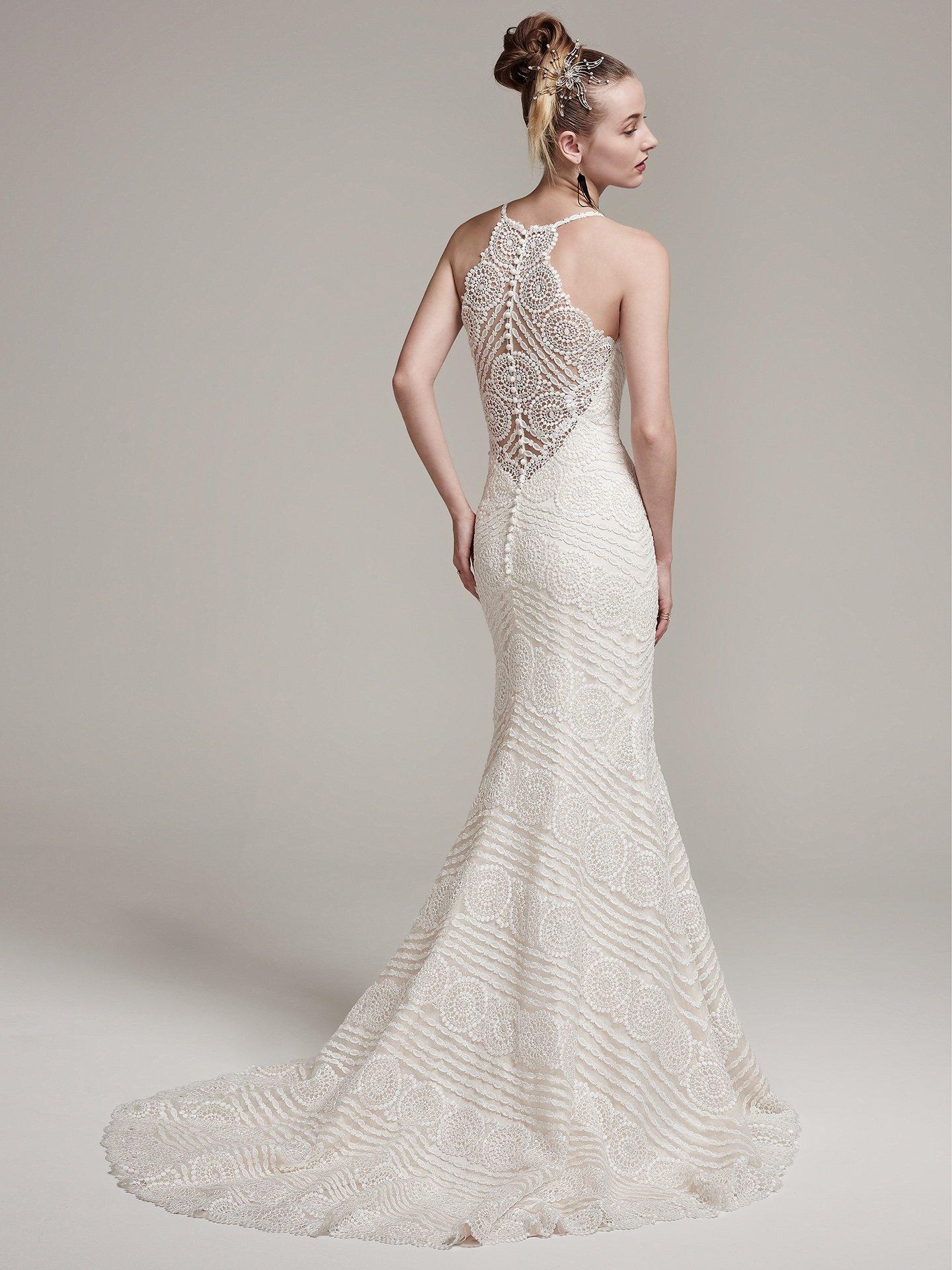 Spaghetti Strap V Neck Sheath Lace Wedding Dress With Back Details