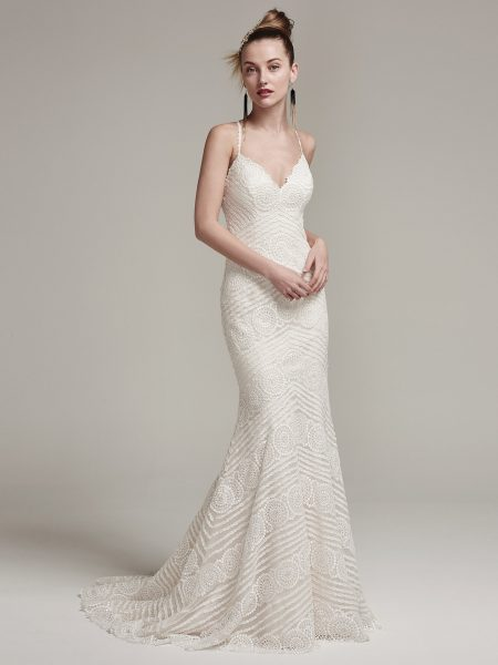 Spaghetti Strap V-neck Sheath Lace Wedding Dress With Back Details by Maggie Sottero - Image 1