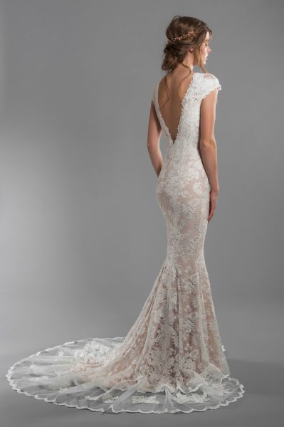 Cap Sleeve All Lace Deep V-neck Fit And Flare Wedding Dress With Deep-v Back by Olvi's - Image 2