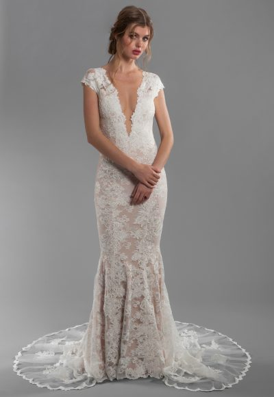 Cap Sleeve All Lace Deep V-neck Fit And Flare Wedding Dress With Deep-v Back by Olvi's