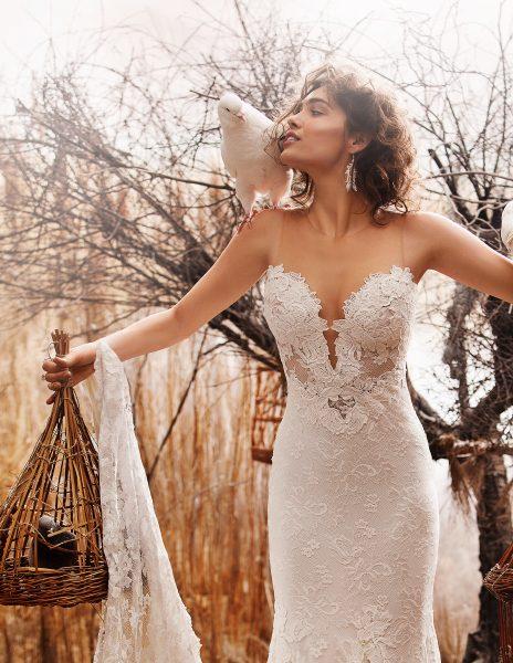 Illusion Sweetheart Neckline Lace Sheath Wedding Dress by Olvi's - Image 1