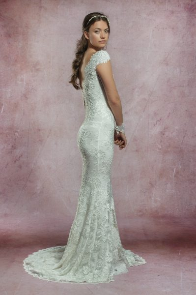 Long Illusion Sleeve All Lace Deep V-neckline Fit And Flare Wedding Dress by Olvi's - Image 2