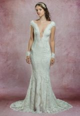 Long Illusion Sleeve All Lace Deep V-neckline Fit And Flare Wedding Dress by Olvi's - Image 1