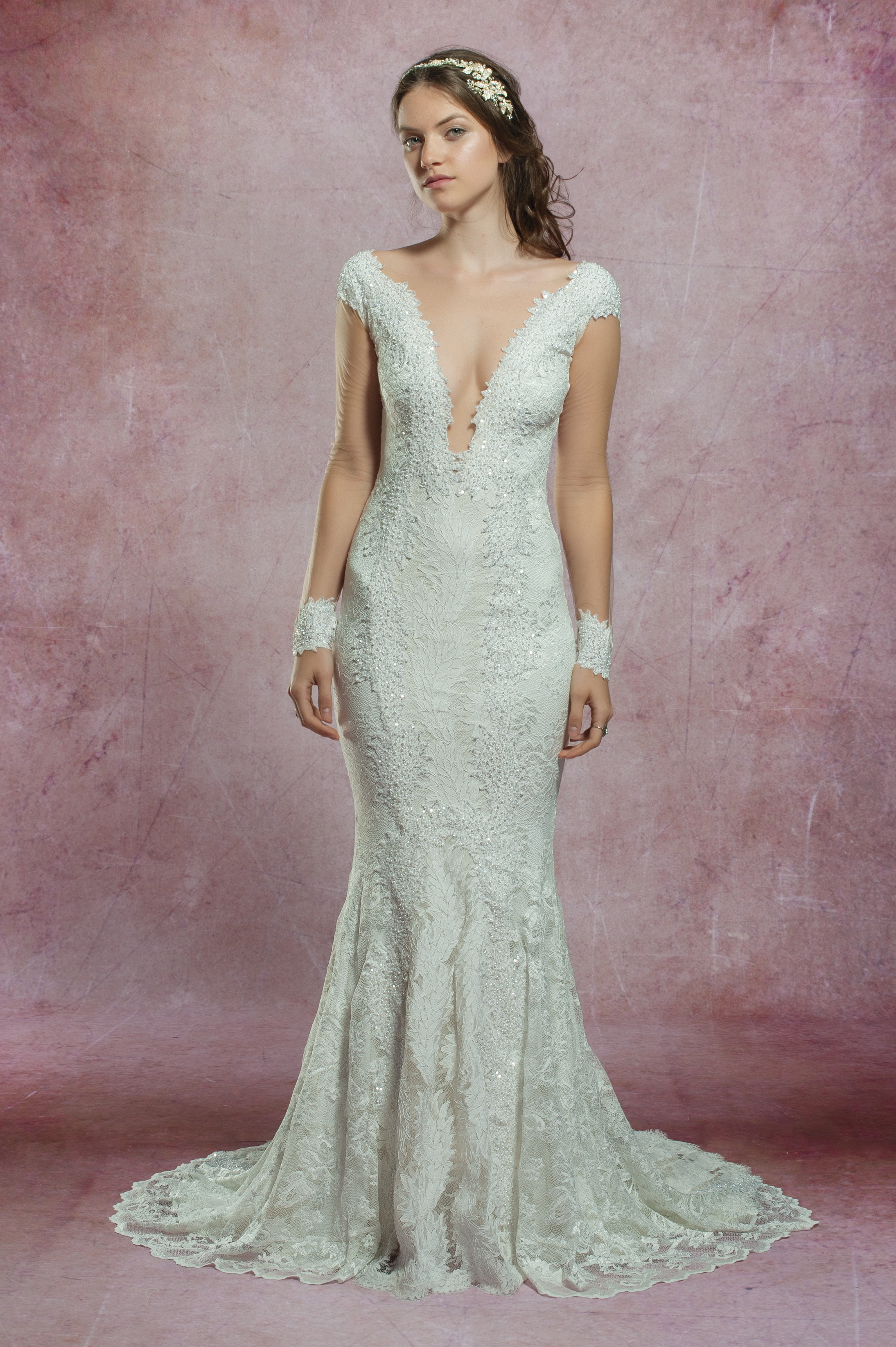 Long Illusion Sleeve All Lace Deep V Neckline Fit And Flare Wedding