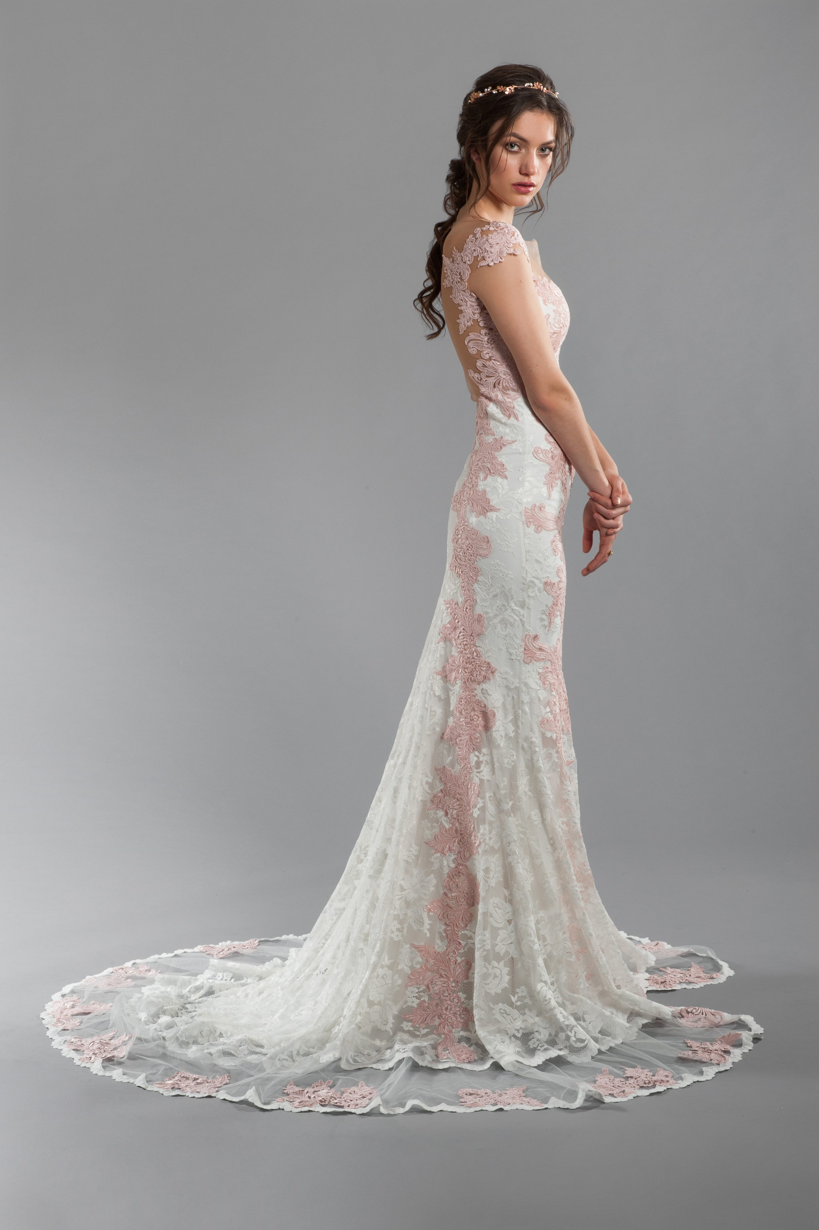 Rose And Ivory Lace Sheath Wedding Dress With Illusion Back Sweetheart Neckline Cap Sleeves Kleinfeld Bridal