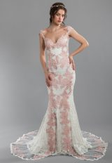 Rose And Ivory Lace Sheath Wedding Dress With Illusion Back And Sweetheart Neckline With Cap Sleeves by Olvi's - Image 1