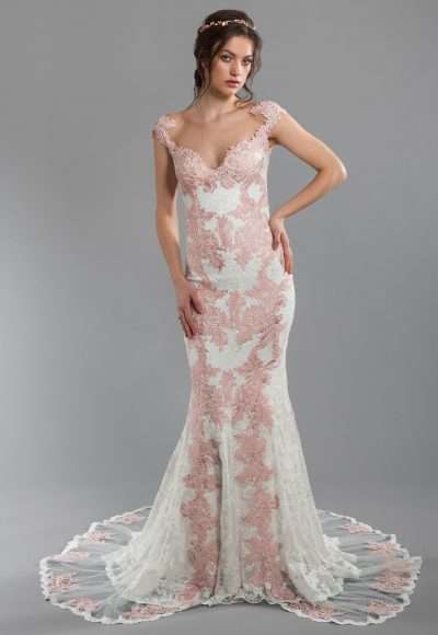 Rose And Ivory Lace Sheath Wedding Dress With Illusion Back And Sweetheart Neckline With Cap Sleeves by Olvi's