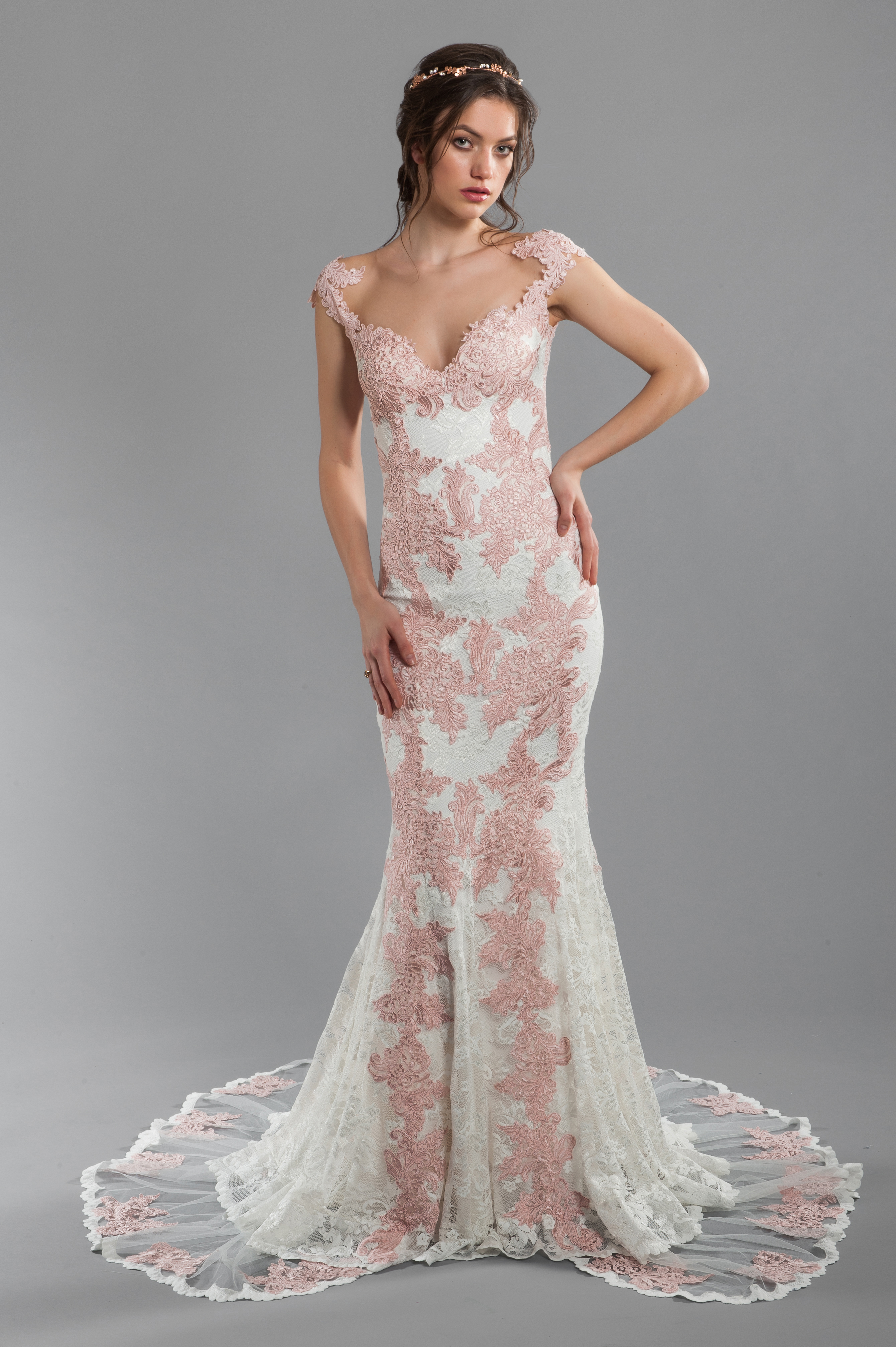 Rose And Ivory Lace Sheath Wedding Dress With Illusion Back And ...