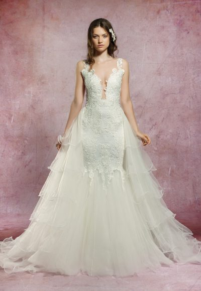 Sleeveless Lace V-neckline Mermaid Wedding Dress With Detachable Tulle Skirt by Olvi's