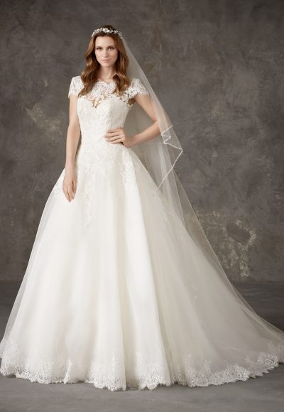 Bateau Neckline Lace Bodice Full Skirt Ball Gown Wedding Dress by Pronovias