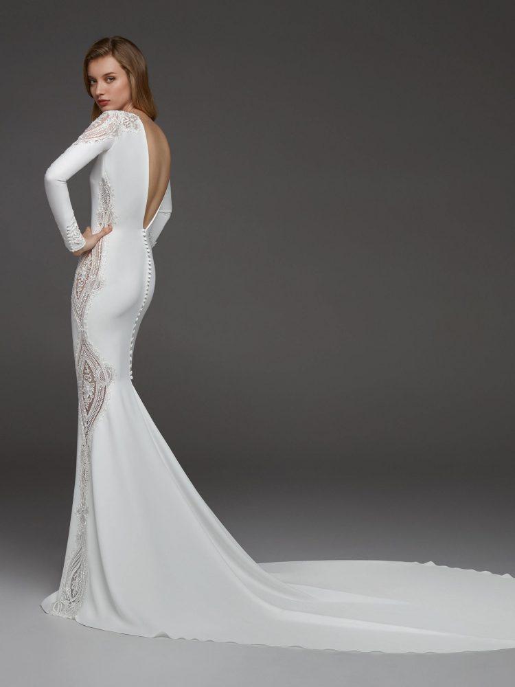 Long Sleeves Crepe Beaded Detailing Sheath Wedding Dress by Pronovias - Image 2