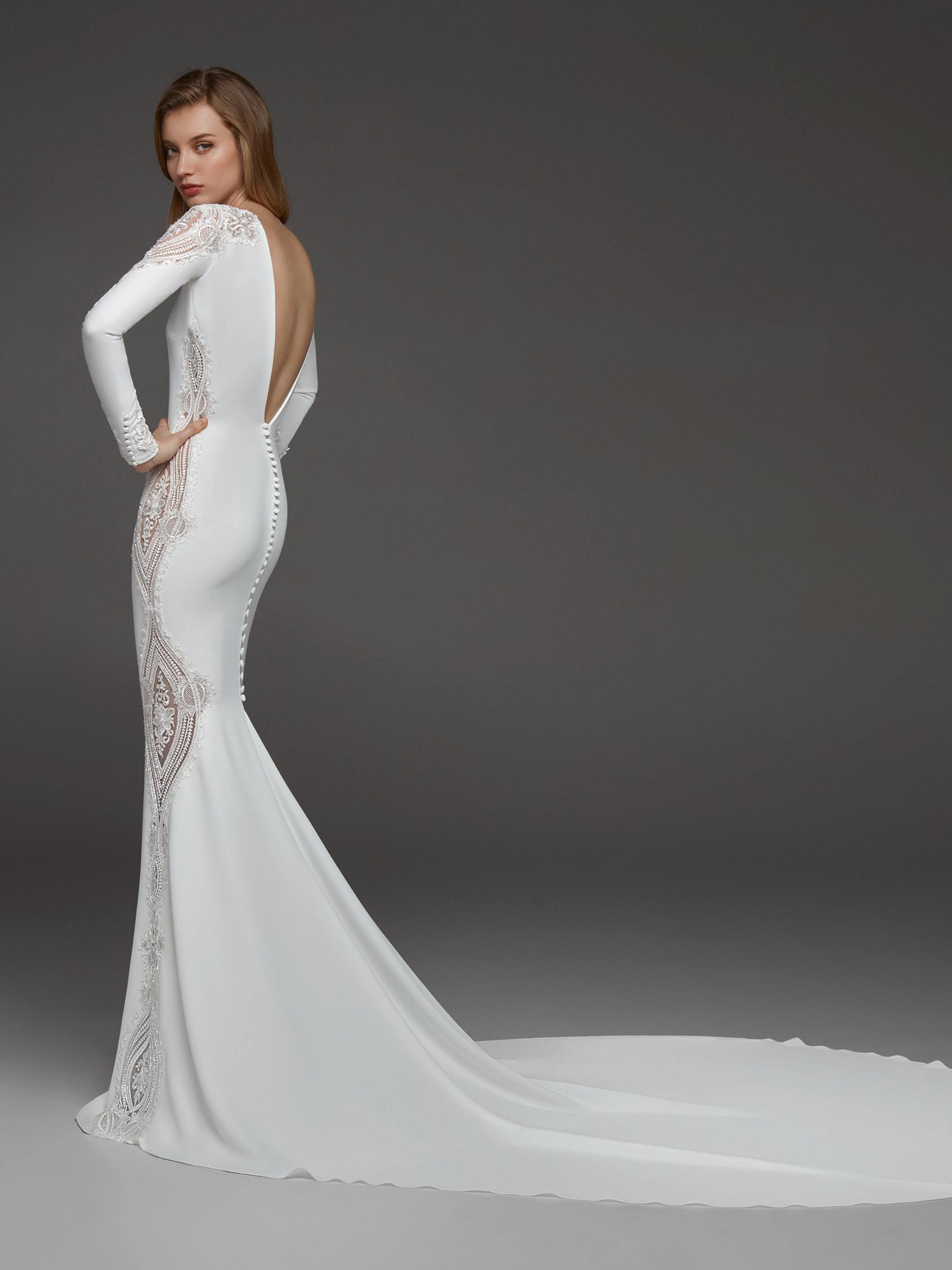 Long Sleeves Crepe Beaded Detailing Sheath Wedding Dress
