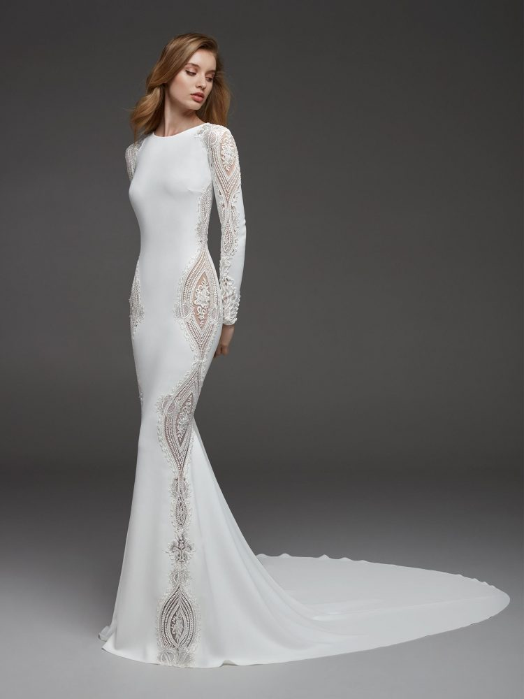 Long Sleeves Crepe Beaded Detailing Sheath Wedding Dress by Pronovias - Image 1
