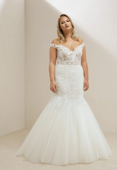 Off The Shoulder Lace Bodice Tulle Skirt Mermaid Wedding Dress by Pronovias