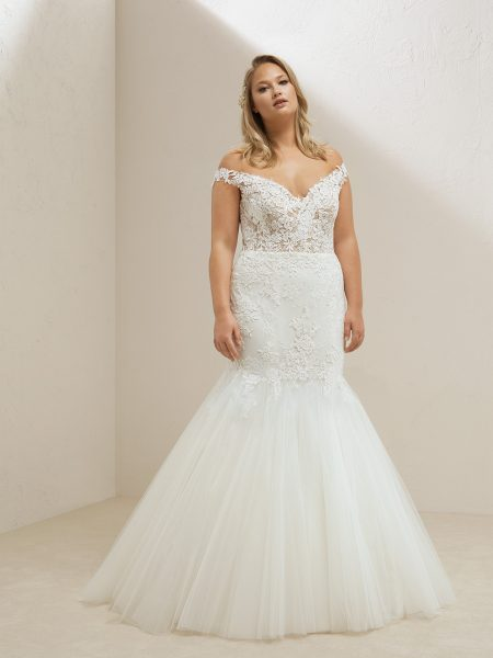Off The Shoulder Lace Bodice Tulle Skirt Mermaid Wedding Dress by Pronovias - Image 1