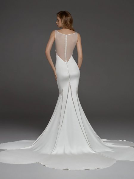Sleeveless Illusion Sweetheart Neckline Crepe Sheath Wedding Dress by Pronovias - Image 2