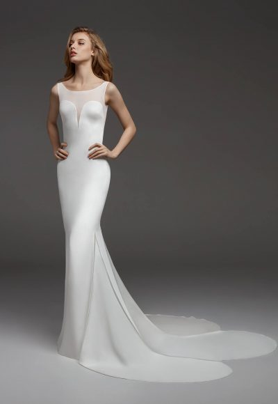 Sleeveless Illusion Sweetheart Neckline Crepe Sheath Wedding Dress by Pronovias