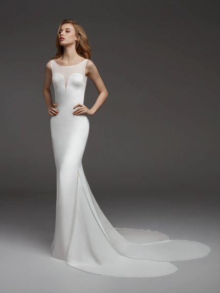 Sleeveless Illusion Sweetheart Neckline Crepe Sheath Wedding Dress by Pronovias - Image 1