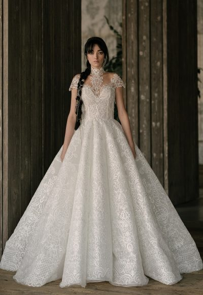Cap Sleeve Sweetheart Neck Lace Ball Gown Wedding Dress by Rivini