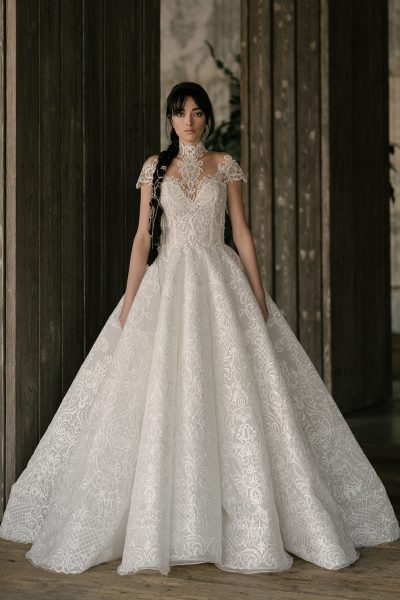 Cap Sleeve Sweetheart Neck Lace Ball Gown Wedding Dress by Rivini - Image 1