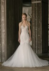 Fitted Lace Bodice Tulle Skirt Fit And Flare Wedding Dress by Rivini - Image 1