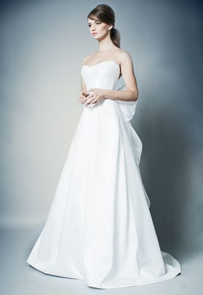 Simple Strapless A-line Wedding Dress by ROMONA New York