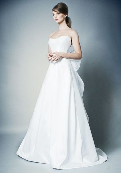 Simple Strapless A Line Wedding Dress