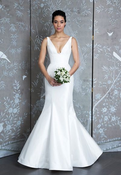 Sleeveless V-neck Taffeta Fit And Flare Wedding Dress by LEGENDS Romona Keveza