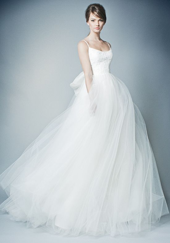 Spaghetti Strap Lace And Tulle Ball Gown Wedding Dress