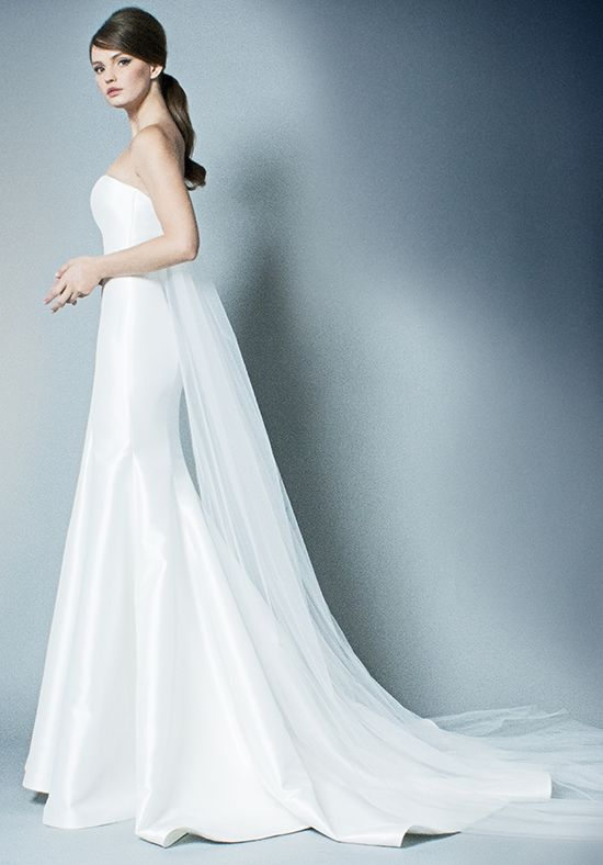 Straight Neckline Simple Strapless Fit And Flare Wedding Dress ...