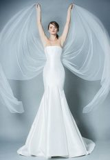 Straight Neckline Simple Strapless Fit And Flare Wedding Dress by ROMONA New York - Image 1