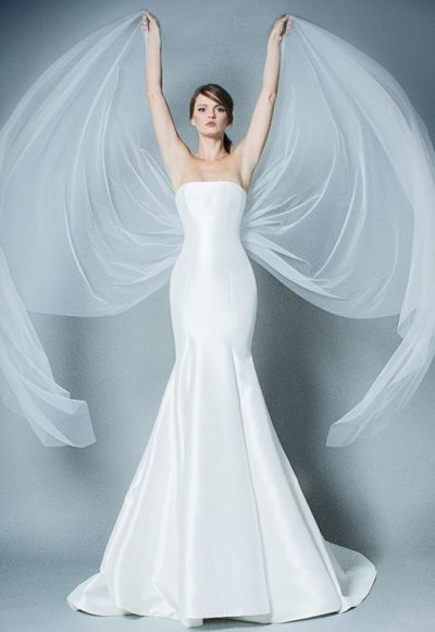 Straight Neckline Simple Strapless Fit And Flare Wedding Dress by Romona Keveza Collection
