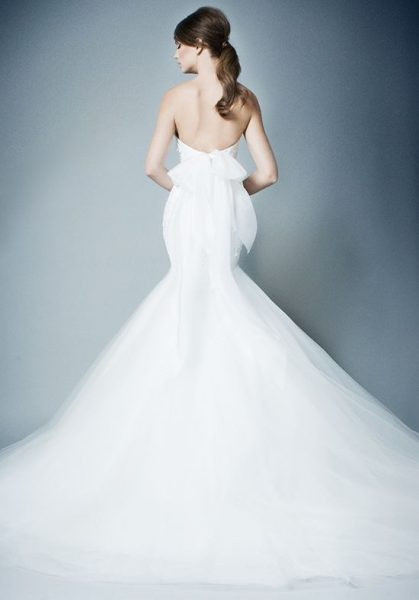 Strapless Lace Bodice Tulle Skirt Mermaid Wedding Dress by Romona Keveza Collection - Image 2