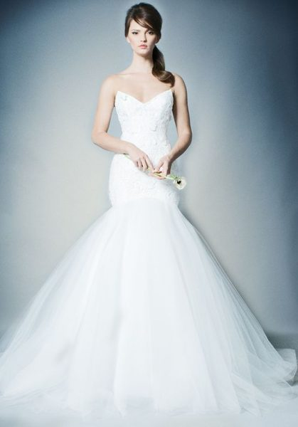 Strapless Lace Bodice Tulle Skirt Mermaid Wedding Dress by Romona Keveza Collection - Image 1