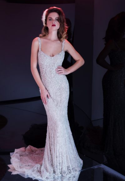 Fully Beaded Sleeveless Sheath Wedding Dress by Stephen Yearick