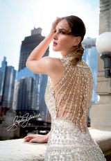 High Neck Fully Beaded Sheath Wedding Dress by Stephen Yearick - Image 2