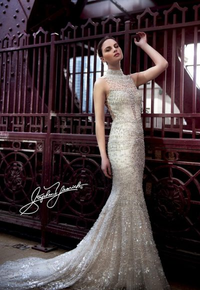 High Neck Fully Beaded Sheath Wedding Dress by Stephen Yearick