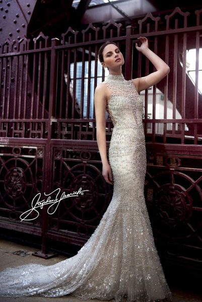 High Neck Fully Beaded Sheath Wedding Dress by Stephen Yearick - Image 1