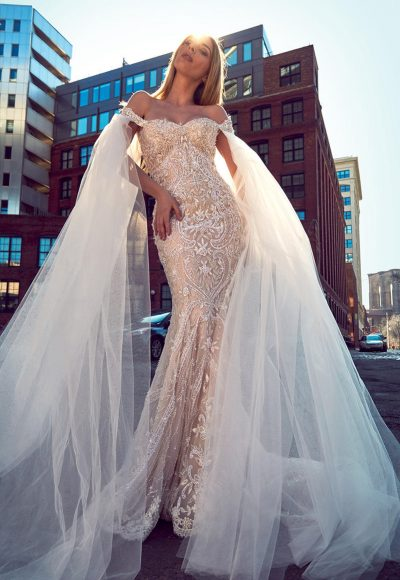 Off The Shoulder Fully Beaded Fit And Flare Wedding Dress by Stephen Yearick