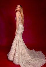 Sleeveless V-neck Fully Beaded Fit And Flare Wedding Dress by Stephen Yearick - Image 2