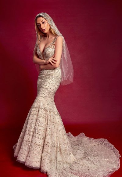 Sleeveless V-neck Fully Beaded Fit And Flare Wedding Dress by Stephen Yearick