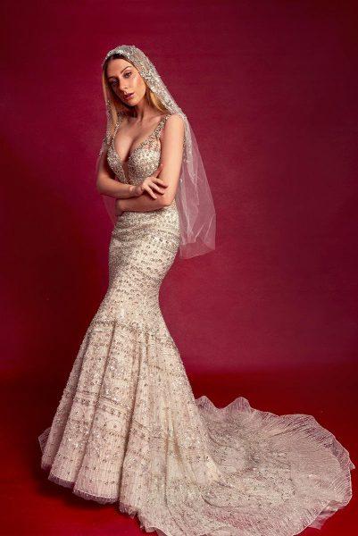 Sleeveless V-neck Fully Beaded Fit And Flare Wedding Dress by Stephen Yearick - Image 1