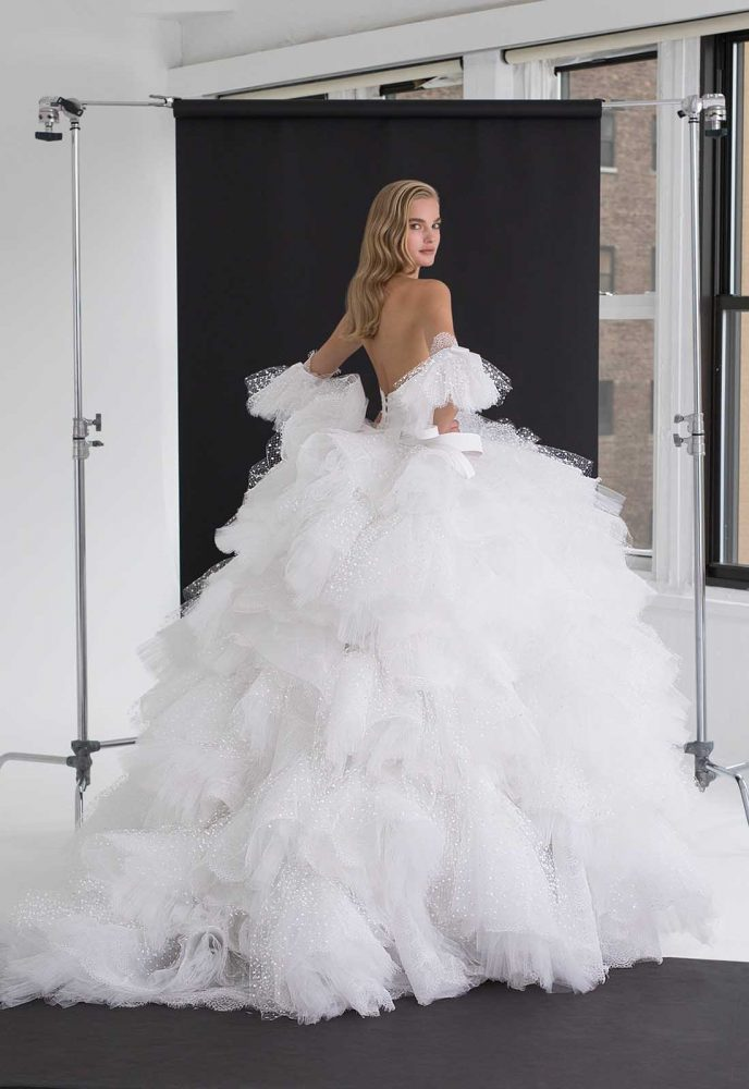 Satin Corset Bodice With Multi Layer Ruffle Tulle Ball Gown Skirt by Pnina Tornai - Image 2