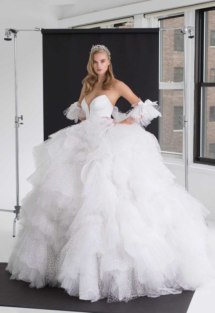 Satin Corset Bodice With Multi Layer Ruffle Tulle Ball Gown Skirt by Pnina Tornai - Image 1