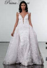 V-neck Fit And Flare Wedding Dress With Floral Appliques And Illusion Back by Pnina Tornai - Image 2