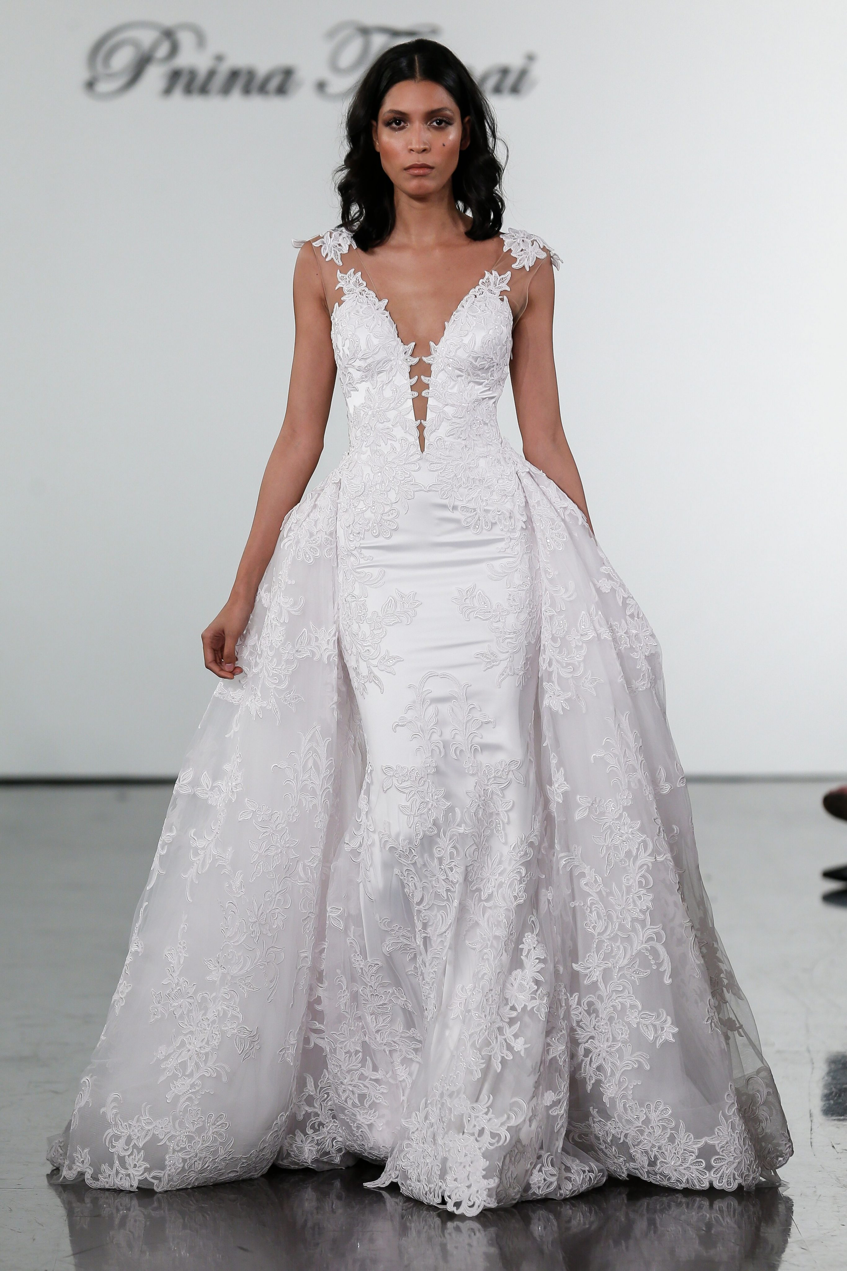 e693d49bbf V-neck Fit And Flare Wedding Dress With Floral Appliques And Illusion Back