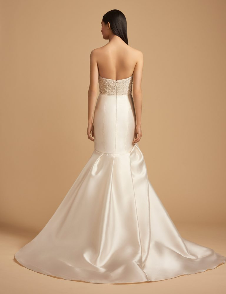 Beaded Straight Neckline Bodice Silk Skirt Fit And Flare Wedding Dress by Allison Webb - Image 2