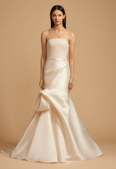 Beaded Straight Neckline Bodice Silk Skirt Fit And Flare Wedding Dress by Allison Webb