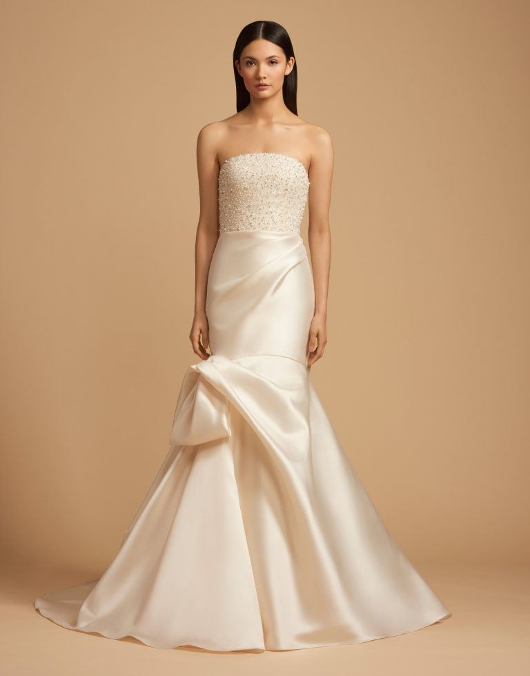 Beaded Straight Neckline Bodice Silk Skirt Fit And Flare Wedding Dress by Allison Webb - Image 1