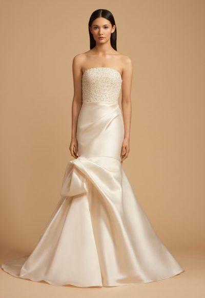 Beaded Straight Neckline Bodice Silk Skirt Fit And Flare Wedding Dress by Allison Webb